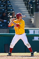 J.R. Aguirre #8 of the USC Trojans bats against the Cal State Northridge Matadors at Dedeaux Field on February 24, 2013 in Los Angeles, California. (Larry Goren/Four Seam Images)