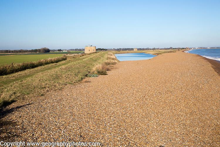 Steep shingle beach gradient at high level adjoining flood defence sea wall bank, Bawdsey, Hollesley Bay, Suffolk, England, UK