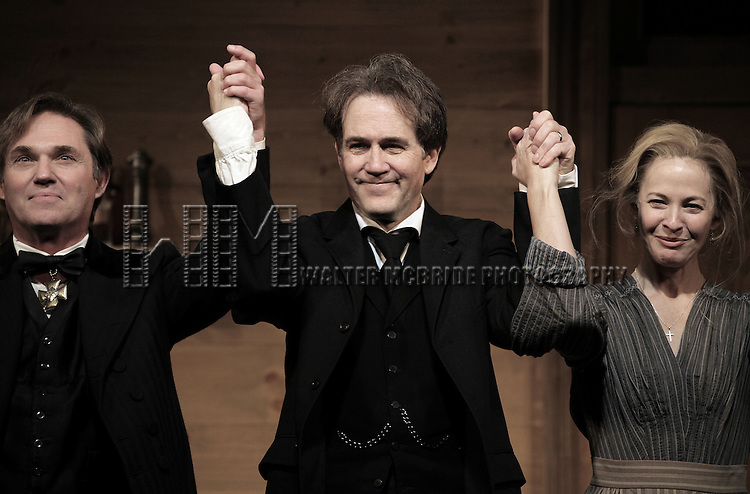 Richard Thomas, Boyd Gaines and Kathleen McNenny during the Broadway Opening Night Performance Curtain Call for  'An Enemy of the People' at the Samuel J. Friedman Theatre in New York. Sept. 27, 2012