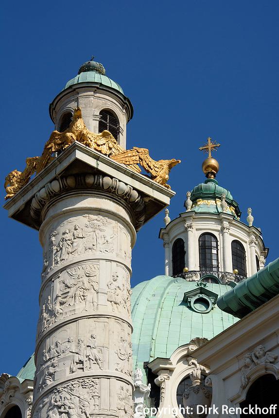 Karlskirche von 1737, Wien, &Ouml;sterreich, UNESCO-Weltkulturerbe<br /> Charles church from 1737, Vienna, Austria, world heritage