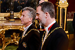 President of Argentine Republic, Mauricio Macri and King Felipe VI of Spain during the gala dinner given to the President of the Argentine Republic, Sr. Mauricio Macri and Sra Juliana Awada at Real Palace in Madrid, Spain. February 19, 2017. (ALTERPHOTOS/BorjaB.Hojas)