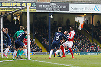 Devante Cole of Fleetwood Town watches as his goal bound header is cleared to safety during the Sky Bet League 1 match between Southend United and Fleetwood Town at Roots Hall, Southend, England on 13 January 2018. Photo by Carlton Myrie.
