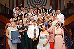 Members of Clara Musical Society, County Offaly celebrate after they won the Best Overall Show / Sullivan Section for their production of 'Cats' at the Association of Irish Musical Societies (AIMS) annual awards in the INEC, Killarney at the weekend. Included are, Liz Rickard and Mary Cornally, Best Visual award.<br /> Photo Don MacMonagle<br /> <br /> repro free photo AIMS<br /> Further info: Kate Furlong PRO kate.furlong84@gmail.com