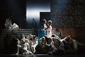 """Pictured: Susan Bickley as Jocasta and Julia Sporsen as Antigone. Dress rehearsal of Thebans. English National Opera gives world premiere of British composer Julian Anderson's first opera """"Thebans"""" at the London Coliseum. Thebans is based on the three Theban plays by Sophocles that chronicle the cursed life of Oedipus and his daughter Antigone. Thebans opens at the London Coliseum on 3 May 2014 for 7 performances. The new production is supported by The Boltini Trust, PRS for Music Foundation and ENO's Contemporary Opera Group, a co-production with Theater Bonn in Germany. With Roland Wood as Oedipus, Peter Hoare as Creon (Jocasta's brother), Matthew Best as Tiresias (blind prophet), Susan Bickley as Jocasta (Oedipus' mother/wife) and Julia Sporsen as Antigone (Oedipus' daugher). Score by Julian Anderson, libretto by Frank McGuinness, directed by Pierre Audi and conducted by Edward Gardner."""