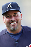 Fredi Gonzalez #33, manager of the Atlanta Braves, before game against the Los Angeles Dodgers at Dodger Stadium in Los Angeles,California on April 19, 2011. Photo by Larry Goren/Four Seam Images