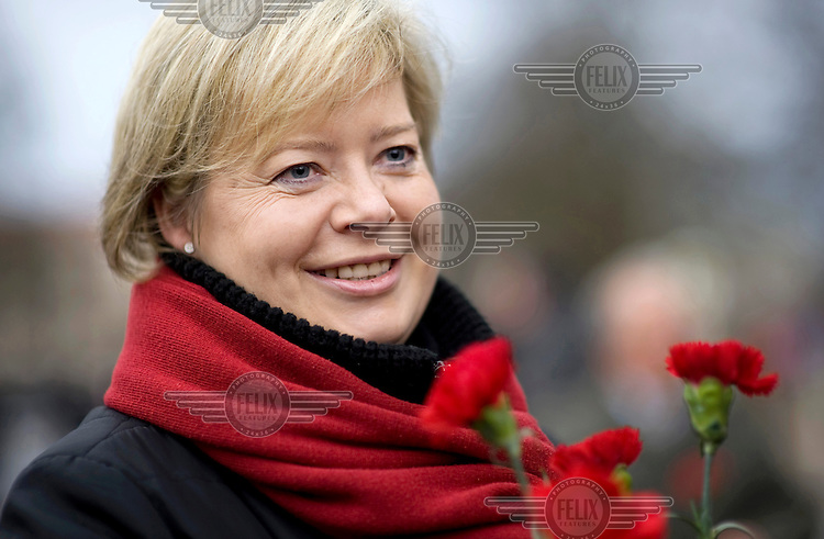 Gesine Loetzsch, a leader of the political party Die Linke (The Left), at an event held in memory of Rosa Luxemburg and Karl Liebknecht held in the Friedrichsfelde Cemetery, where they are buried..