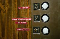 6 April 2006 - New York City, NY - View inside the elevator at Sylvia Weinstock Cakes in New York City, USA, 6 April 2006. The owner, Sylvia Weinstock is known as the queen of wedding cakes in New York.