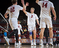 STANFORD, CA - January 17, 2019: Jordan Ewert, Paul Bischoff, Kyler Presho at Maples Pavilion. The Stanford Cardinal defeated UC Irvine 27-25, 17-25, 25-22, and 27-25.