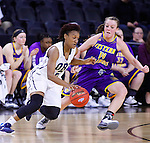 SIOUX FALLS, SD - MARCH 6:  SIOUX FALLS, SD - MARCH 6:  Jordan Doyle #2 of Oral Roberts dribbles past defender Michelle Maher #14 of Western Illinois in the 2016 Summit League Tournament. (Photo by Dave Eggen/Inertia)