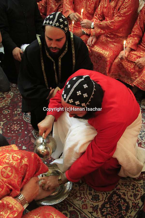Easter, Syrian Orthodox Archbishop Mar Malki Murad conducts the Washing of the Feet ceremony on Maundy Thursday at the Syrian Orthodox St. Mark's Church in Jerusalem