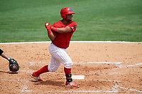 Clearwater Threshers first baseman Wilson Garcia (10) follows through on a swing during the first game of a doubleheader against the Lakeland Flying Tigers on June 14, 2017 at Spectrum Field in Clearwater, Florida.  Lakeland defeated Clearwater 5-1.  (Mike Janes/Four Seam Images)