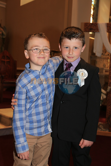 Aaron and Ryan Garvey.at First Comunion in Termonfeckin church..Picture:  www.newsfile.ie ..