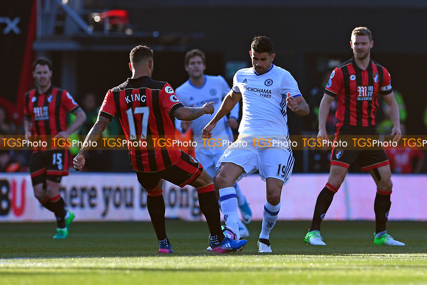 Diego Costa of Chelsea is tackled by Joshua King of AFC Bournemouth during AFC Bournemouth vs Chelsea, Premier League Football at the Vitality Stadium on 8th April 2017