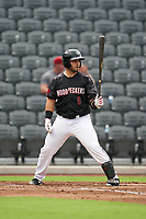 Fayetteville Woodpeckers Scott Manea (9) at bat during a Carolina League game against the Down East Wood Ducks on August 13, 2019 at SEGRA Stadium in Fayetteville, North Carolina.  Fayetteville defeated Down East 5-3.  (Mike Janes/Four Seam Images)