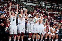 STANFORD, CA - February 24, 2011The Stanford Cardinal women's basketball team celebrates during the Stanford 73-37 win over Oregon State at Maples Pavilion.