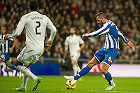 Real Madrid´s Raphael Varane and Deportivo de la Coruna's Haris Medunjanin during 2014-15 La Liga match between Real Madrid and Deportivo de la Coruna at Santiago Bernabeu stadium in Madrid, Spain. February 14, 2015. (ALTERPHOTOS/Luis Fernandez) /NORTEphoto.com