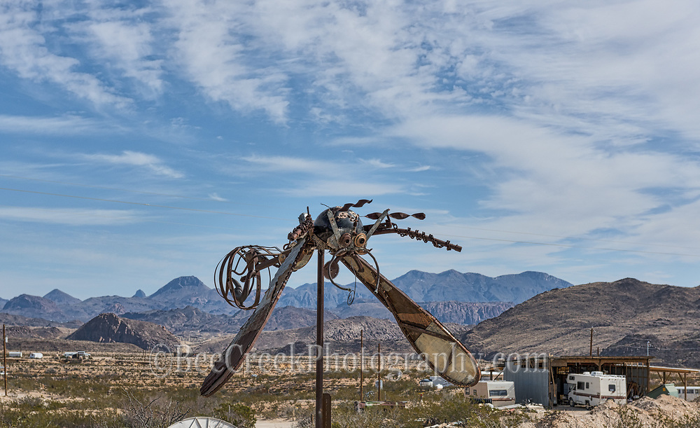 Here is another piece of metal art that greets you as you come into the Terlingua Ghost Town area. You can see the mountains in the background along with the many types of living abodes in the area. People in this araa living in some pretty intersting places. It is a very artsy place you are likely to see all kinds of unique things in the area.