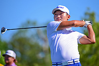 Sung Kang (USA) watches his tee shot on 18 during round 1 of the Shell Houston Open, Golf Club of Houston, Houston, Texas, USA. 3/30/2017.<br /> Picture: Golffile | Ken Murray<br /> <br /> <br /> All photo usage must carry mandatory copyright credit (&copy; Golffile | Ken Murray)