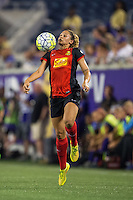 Orlando, Florida - Sunday, May 14, 2016: Western New York Flash forward Lynn Williams (9) settles the ball during a National Women's Soccer League match between Orlando Pride and New York Flash at Camping World Stadium.