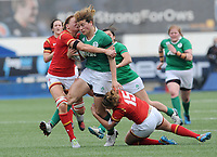 Ireland's Jenny Murphy is tackled by Wales' Dyddgu Hywel and Rachel Taylor<br /> <br /> Photographer Ian Cook/CameraSport<br /> <br /> Women's Six Nations Round 4 - Wales Women v Ireland Women - Saturday 11th March 2017 - Cardiff Arms Park - Cardiff<br /> <br /> World Copyright &copy; 2017 CameraSport. All rights reserved. 43 Linden Ave. Countesthorpe. Leicester. England. LE8 5PG - Tel: +44 (0) 116 277 4147 - admin@camerasport.com - www.camerasport.com
