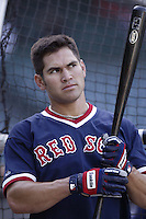 Johnny Damon of the Boston Red Sox before a 2002 MLB season game against the Los Angeles Angels at Angel Stadium, in Anaheim, California. (Larry Goren/Four Seam Images)