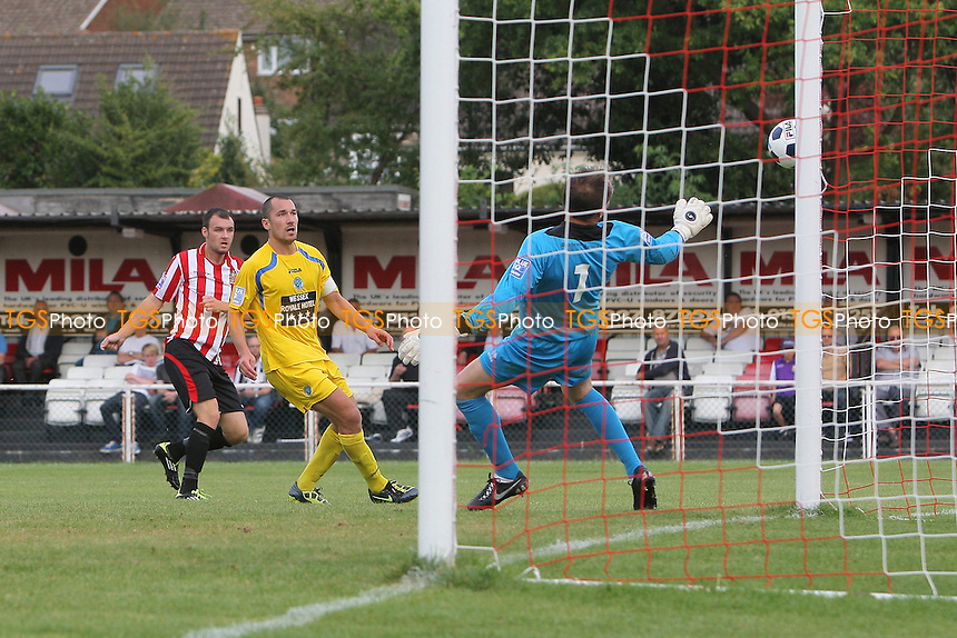 Martin Tuohy of Hornchurch fires in a shot on goal and hits the post - AFC Hornchurch vs Dorchester Town - Blue Square Conference South Football at The Stadium, Upminster Bridge, Essex - 15/09/12 - MANDATORY CREDIT: Gavin Ellis/TGSPHOTO - Self billing applies where appropriate - 0845 094 6026 - contact@tgsphoto.co.uk - NO UNPAID USE.