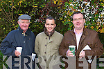 TEA-BREAK: Denis Brosnan, Denny Reidy and Denis Murphy enjoying a cup of tea at the Castleisland Coursing meeting in Cahills Park, Castleisland on Sunday.