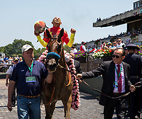 ELMONT, NY - JUNE 10: Mike Smith, aboard Abel Tasman #3, celebrates after winning the Acorn Stakes on Belmont Stakes Day at Belmont Park on June 10, 2017 in Elmont, New York (Photo by Jesse Caris/Eclipse Sportswire/Getty Images)