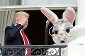 Un9ted States President Donald Trump salutes during the annual Easter Egg Roll on the South Lawn of the White House  in Washington, DC, on April 17, 2017. <br /> Credit: Olivier Douliery / Pool via CNP