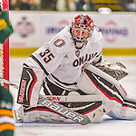 17 October 2015: University of Nebraska Omaha Maverick Goaltender Evan Weninger, a Freshman from Saskatoon, Saskatchewan, in second period action against the University of Vermont Catamounts at Gutterson Fieldhouse in Burlington, Vermont. The Mavericks defeated the Catamounts 3-1 in the second game of their weekend series. Mandatory Credit: Ed Wolfstein Photo *** RAW (NEF) Image File Available ***