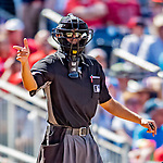 14 April 2018: MLB Umpire Gabe Morales works home plate during a game between the Washington Nationals and the Colorado Rockies at Nationals Park in Washington, DC. The Nationals rallied to defeat the Rockies 6-2 in the 3rd game of their 4-game series. Mandatory Credit: Ed Wolfstein Photo *** RAW (NEF) Image File Available ***