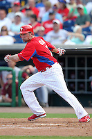 Philadelphia Phillies Ross Gload #7 during a scrimmage vs the Florida State Seminoles  at Bright House Field in Clearwater, Florida;  February 24, 2011.  Philadelphia defeated Florida State 8-0.  Photo By Mike Janes/Four Seam Images