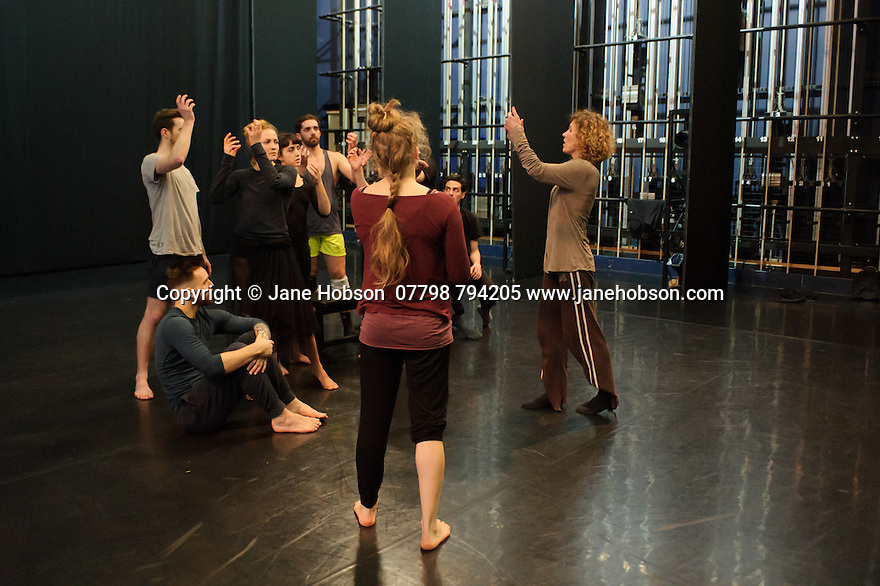 National Dance Company Wales in the studio at Dance House, Wales Millennium Centre, rehearsing FOLK, choreographed by artistic director, Caroline Finn, in preparation for their Spring Tour 2016. Caroline Finn (right) gives direction to the company.