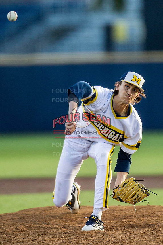 Michigan Wolverines pitcher Jackson Lamb (10) delivers a pitch to the plate against the Central Michigan Chippewas on March 29, 2016 at Ray Fisher Stadium in Ann Arbor, Michigan. Michigan defeated Central Michigan 9-7. (Andrew Woolley/Four Seam Images)