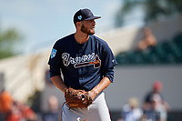 Atlanta Braves relief pitcher Chad Sobotka (61) gets ready to deliver a pitch during a Grapefruit League Spring Training game against the Detroit Tigers on March 2, 2019 at Publix Field at Joker Marchant Stadium in Lakeland, Florida.  Tigers defeated the Braves 7-4.  (Mike Janes/Four Seam Images)