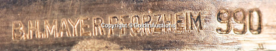 BNPS.co.uk (01202 558833)<br /> Pic: GoldinAuctions/BNPS<br /> <br /> B H Mayer of Pforzheim made the medals in 990 quality gold.<br /> <br /> Jesse Owens Berlin Gold medal<br /> <br /> One of the four historic gold medal that Jesse Owens won during the notorious 1936 Berlin Olympics has emerged for sale for the very first time for a whopping £1.6m ($2m)<br /> <br /> Owens won four medals in a golden riposte to the watching Nazi high command during the games throwing the idea of Aryan supremacy back into Hitler's face.<br /> <br /> Of the quartet of prizes - awarded for the 100 meters, 200 meters, long jump and 4×100-meter relay - only one has ever been sold before.<br /> <br /> The award is going under the hammer with Goldin Auctions of Camden County, New Jersey.