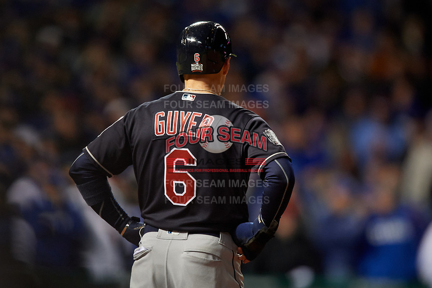 Cleveland Indians Brandon Guyer (6) on first base in the seventh inning during Game 5 of the Major League Baseball World Series against the Chicago Cubs on October 30, 2016 at Wrigley Field in Chicago, Illinois.  (Mike Janes/Four Seam Images)