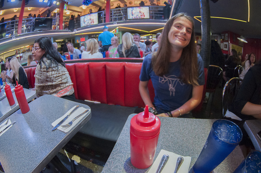 Eliza at the Stardust Diner, Times Square, Manhattan, New York, US