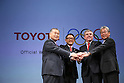 (L-R) Yoshiro Mori (Head of 2020 Tokyo Olympics Organising Committee),   Akio Toyoda (President and CEO of Toyota Motor Corporation), Thomas Bach (President of the International Olympic Committee), Tsunekazu Takeda (President of the Japanese Olympic Committee) appear at a ceremony on MARCH 13, 2015 in Tokyo, Japan to announce Toyota's sponsorship of the Olympic movement.  Japanese auto maker Toyota signed up to become a top level Official Worldwide Olympic Partner. (Photo by Yohei Osada/AFLO SPORT) [1156]
