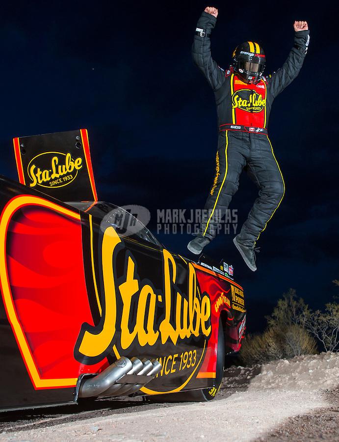 Aug 26, 2015; Lake Pleasant, AZ, USA; NHRA top alcohol funny car driver Stefan Kontos during a portrait shoot near Lake Pleasant. Mandatory Credit: Mark J. Rebilas-