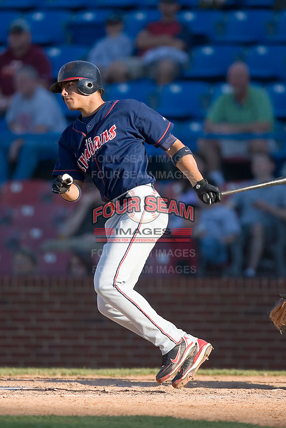 Shortstop Carlos Rivero (17) of the Kinston Indians follows through on his swing versus the Winston-Salem Warthogs at Ernie Shore Field in Winston-Salem, NC, Saturday, May 17, 2008.