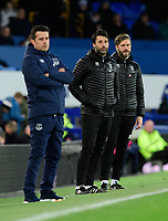 Everton manager Marco Silva, left, Danny Cowley, centre, Lincoln City's assistant manager Nicky Cowley<br /> <br /> Photographer Chris Vaughan/CameraSport<br /> <br /> Emirates FA Cup Third Round - Everton v Lincoln City - Saturday 5th January 2019 - Goodison Park - Liverpool<br />  <br /> World Copyright &copy; 2019 CameraSport. All rights reserved. 43 Linden Ave. Countesthorpe. Leicester. England. LE8 5PG - Tel: +44 (0) 116 277 4147 - admin@camerasport.com - www.camerasport.com