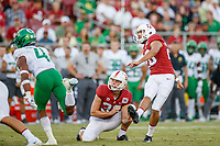 STANFORD, CA - SEPTEMBER 21: Jet Toner #26 of the Stanford Cardinal watches his successful field goal attempt with teammate Alex Gracey #33 during a game between University of Oregon and Stanford Football at Stanford Stadium on September 21, 2019 in Stanford, California.