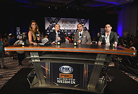 LOS ANGELES - SEPTEMBER 27: Kate Abdo, Ray Mancini, Keith Thurman, and Danny Garcia host the Fox Sports weigh-in for the September 28 Fox Sports PBC Pay-Per-View fight night in Los Angeles, California. (Photo by Frank Micelotta/Fox Sports/PictureGroup)
