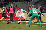 08.02.2019, RheinEnergieStadion, Koeln, GER, 2. FBL, 1.FC Koeln vs. FC St. Pauli,<br />  <br /> DFL regulations prohibit any use of photographs as image sequences and/or quasi-video<br /> <br /> im Bild / picture shows: <br /> Dominick Drexler (FC Koeln #24), im Zweikampf gegen  Luca Zander (St Pauli #19),  im Tor Svend Brodersen (St Pauli #33), <br /> <br /> Foto © nordphoto / Meuter