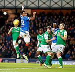 05.02.2020 Rangers v Hibs: Alfredo Morelos jumping for a corner