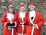 Ann McVeigh, Joan McQuillan and Anna Mulroy who took part in the Santa Dash. Photo: Colin Bell/pressphotos.ie