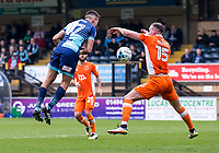 Handball appeal during the Sky Bet League 2 match between Wycombe Wanderers and Blackpool at Adams Park, High Wycombe, England on the 11th March 2017. Photo by Liam McAvoy.