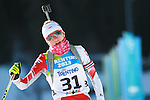 Monika Hojnisz (POL) competes during the women 7.5 km sprint Biathlon race as part of the Winter Universiade Trentino 2013 on 15/12/2013 in Lago Di Tesero, Italy.<br /> <br /> &copy; Pierre Teyssot - www.pierreteyssot.com
