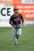 Modesto Nuts left fielder Jansiel Rivera (13) during a California League game against the San Jose Giants at San Jose Municipal Stadium on May 15, 2018 in San Jose, California. Modesto defeated San Jose 7-5. (Zachary Lucy/Four Seam Images)